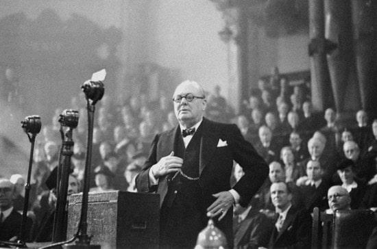 Churchill delivering his speech